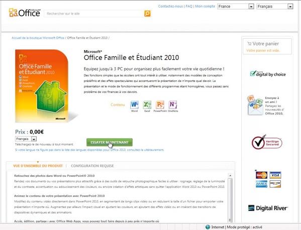 Telechargement - Office famille et etudiant 2010 3 postes ...